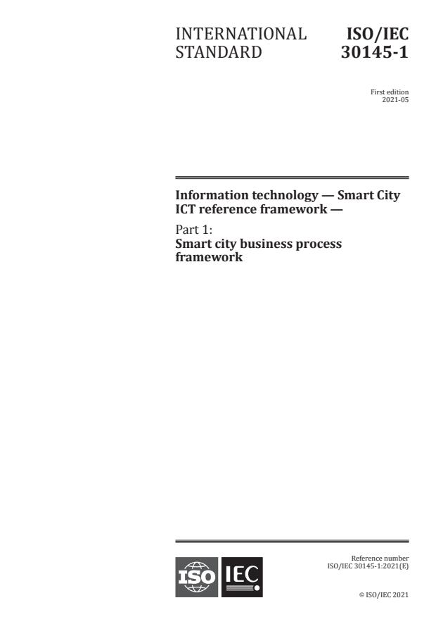 ISO/IEC 30145-1:2021 - Information technology -- Smart City ICT reference framework