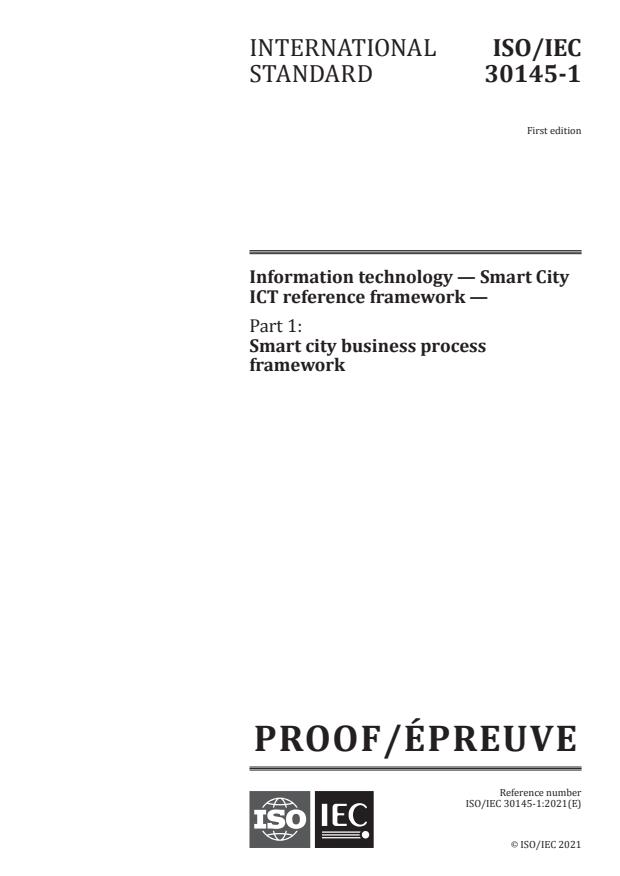 ISO/IEC PRF 30145-1:Version 06-mar-2021 - Information technology -- Smart City ICT reference framework