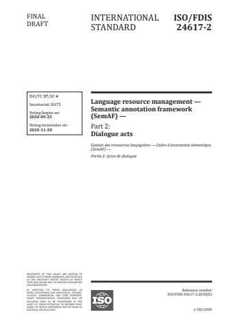 ISO/FDIS 24617-2:Version 13-okt-2020 - Language resource management -- Semantic annotation framework (SemAF)