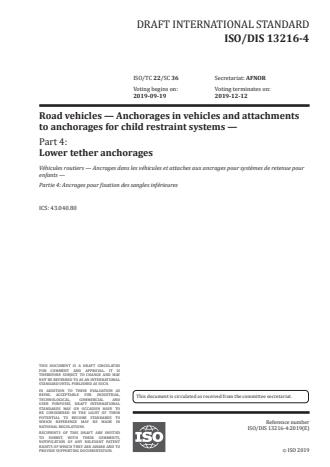 ISO/PRF 13216-4:Version 25-apr-2020 - Road vehicles -- Anchorages in vehicles and attachments to anchorages for child restraint systems