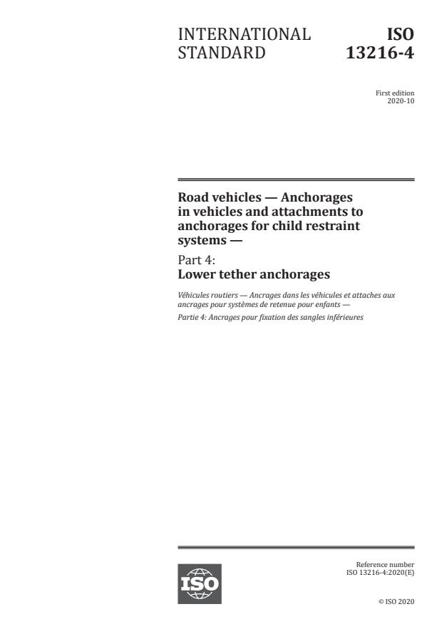 ISO 13216-4:2020 - Road vehicles -- Anchorages in vehicles and attachments to anchorages for child restraint systems