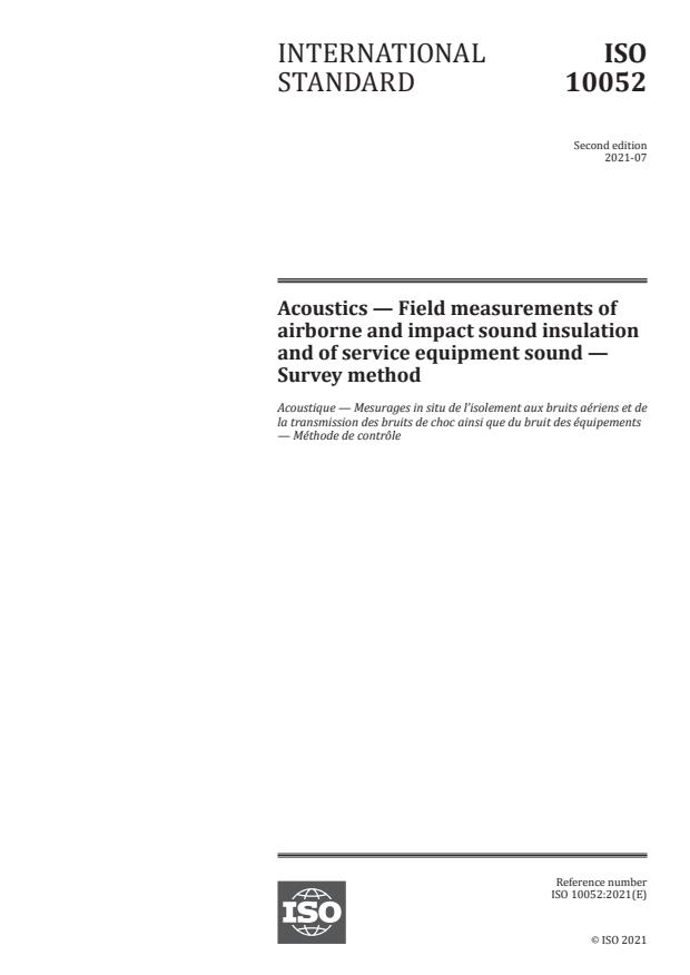 ISO 10052:2021 - Acoustics -- Field measurements of airborne and impact sound insulation and of service equipment sound -- Survey method