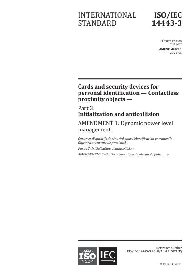 ISO/IEC 14443-3:2018/Amd 1:2021 - Dynamic power level management
