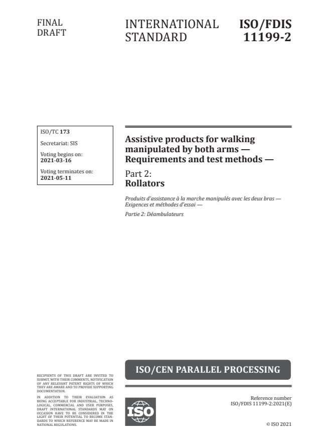 ISO/FDIS 11199-2:Version 13-mar-2021 - Assistive products for walking manipulated by both arms -- Requirements and test methods