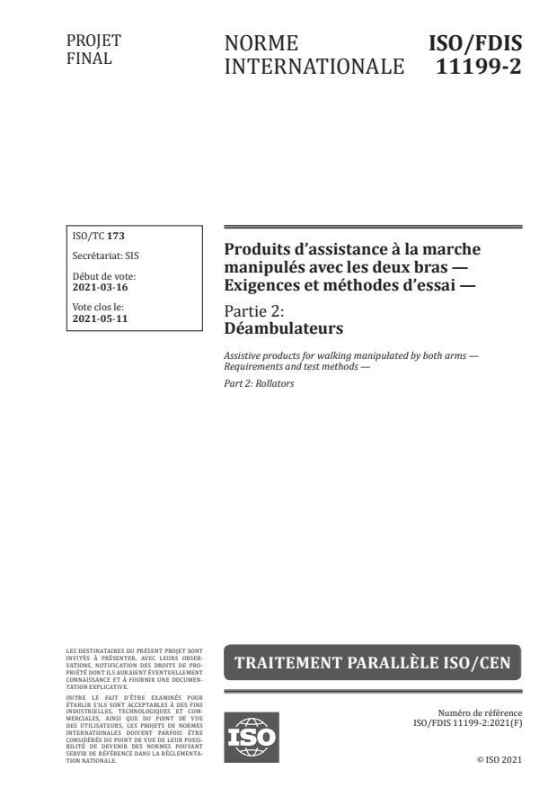 ISO/FDIS 11199-2:Version 18-apr-2021 - Produits d'assistance a la marche manipulés avec les deux bras -- Exigences et méthodes d'essai