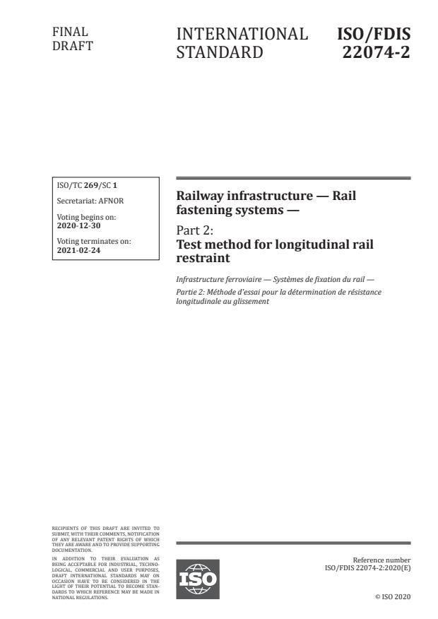 ISO/FDIS 22074-2:Version 26-dec-2020 - Railway infrastructure -- Rail fastening systems