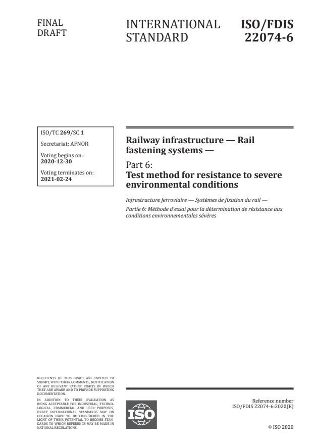 ISO/FDIS 22074-6:Version 26-dec-2020 - Railway infrastructure -- Rail fastening systems
