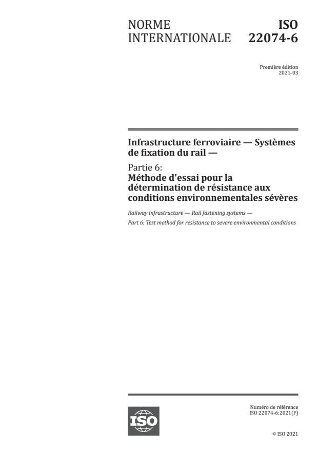 ISO 22074-6:2021 - Infrastructure ferroviaire -- Systèmes de fixation du rail