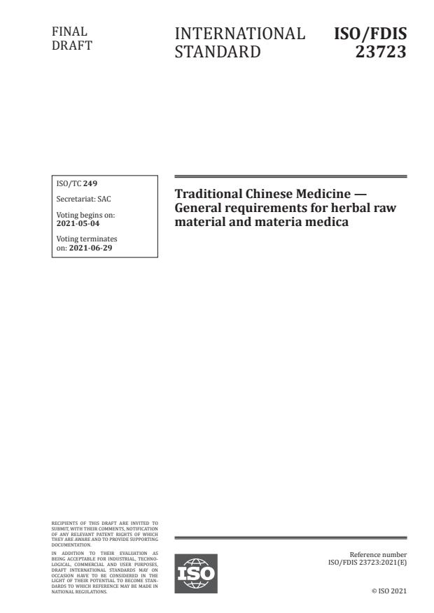 ISO/FDIS 23723:Version 08-maj-2021 - Traditional Chinese Medicine -- General requirements for herbal raw material and materia medica