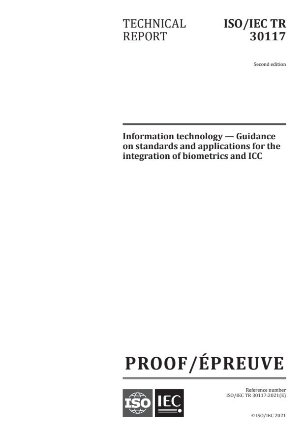 ISO/IEC PRF TR 30117:Version 19-jun-2021 - Information technology -- Guidance on standards and applications for the integration of biometrics and ICC