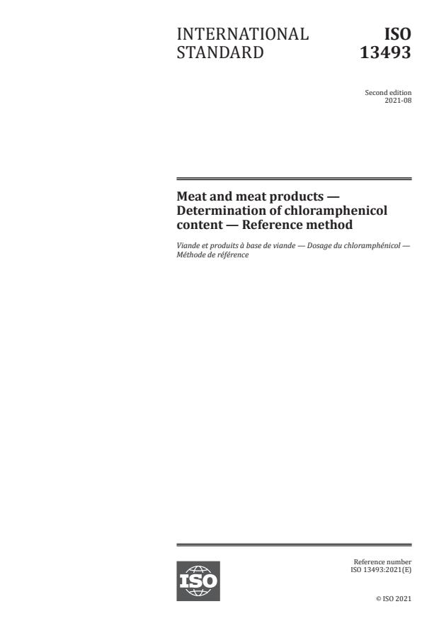 ISO 13493:2021 - Meat and meat products -- Determination of chloramphenicol content -- Reference method