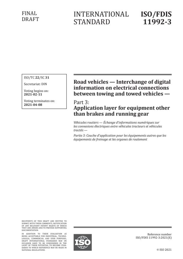 ISO/FDIS 11992-3:Version 05-feb-2021 - Road vehicles -- Interchange of digital information on electrical connections between towing and towed vehicles
