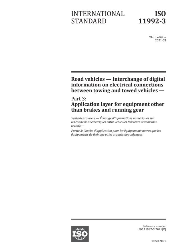 ISO 11992-3:2021 - Road vehicles -- Interchange of digital information on electrical connections between towing and towed vehicles