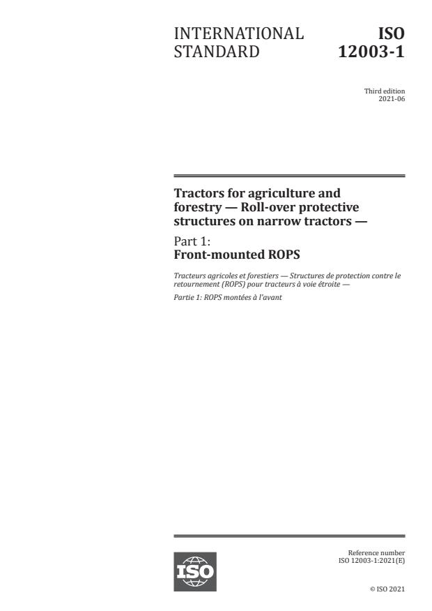 ISO 12003-1:2021 - Tractors for agriculture and forestry -- Roll-over protective structures on narrow tractors