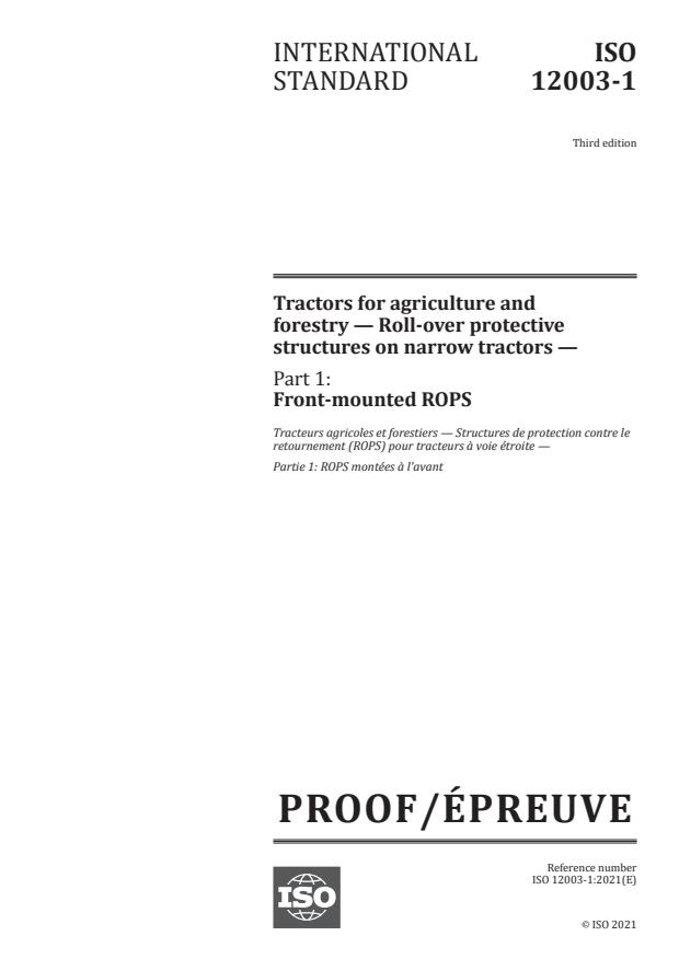 ISO/PRF 12003-1:Version 18-apr-2021 - Tractors for agriculture and forestry -- Roll-over protective structures on narrow tractors