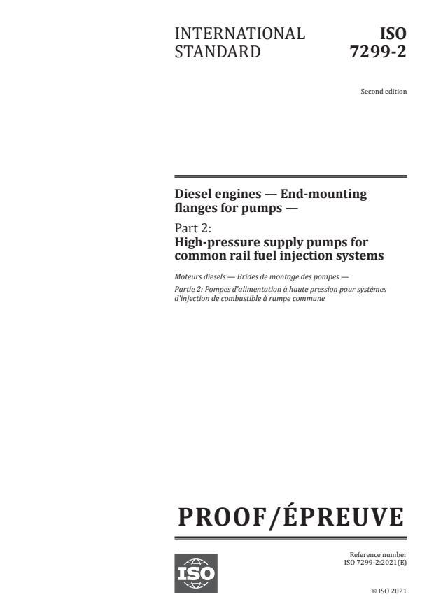 ISO/PRF 7299-2:Version 26-jun-2021 - Diesel engines -- End-mounting flanges for pumps