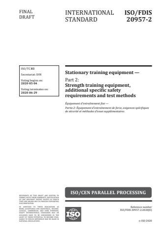 ISO/FDIS 20957-2 - Stationary training equipment
