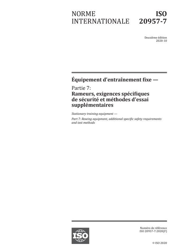 ISO 20957-7:2020 - Équipement d'entraînement fixe
