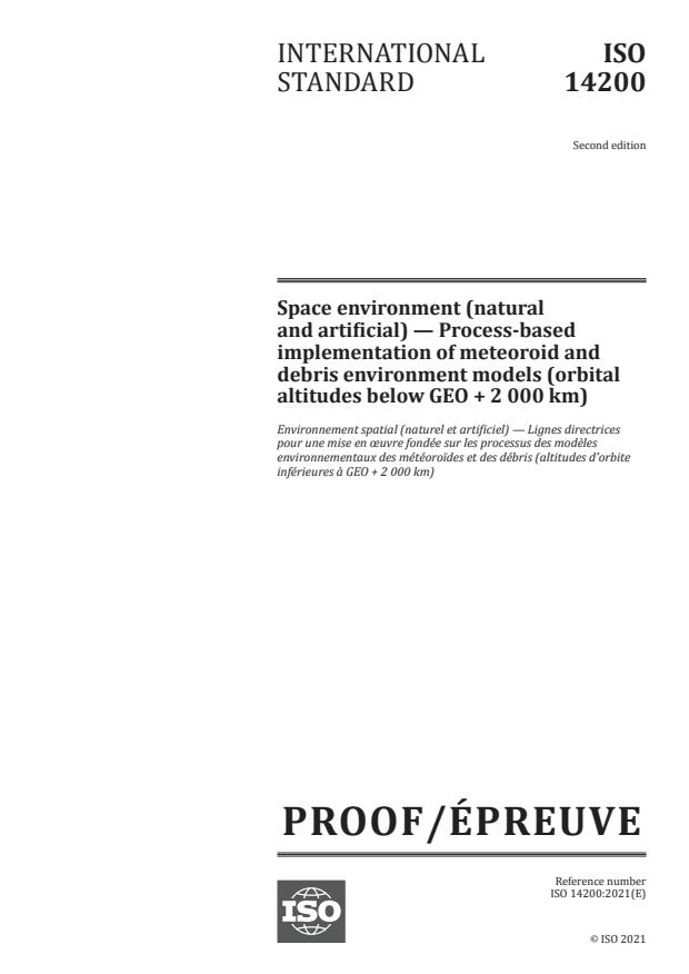 ISO/PRF 14200:Version 10-apr-2021 - Space environment (natural and artificial) -- Process-based implementation of meteoroid and debris environment models (orbital altitudes below GEO + 2 000 km)