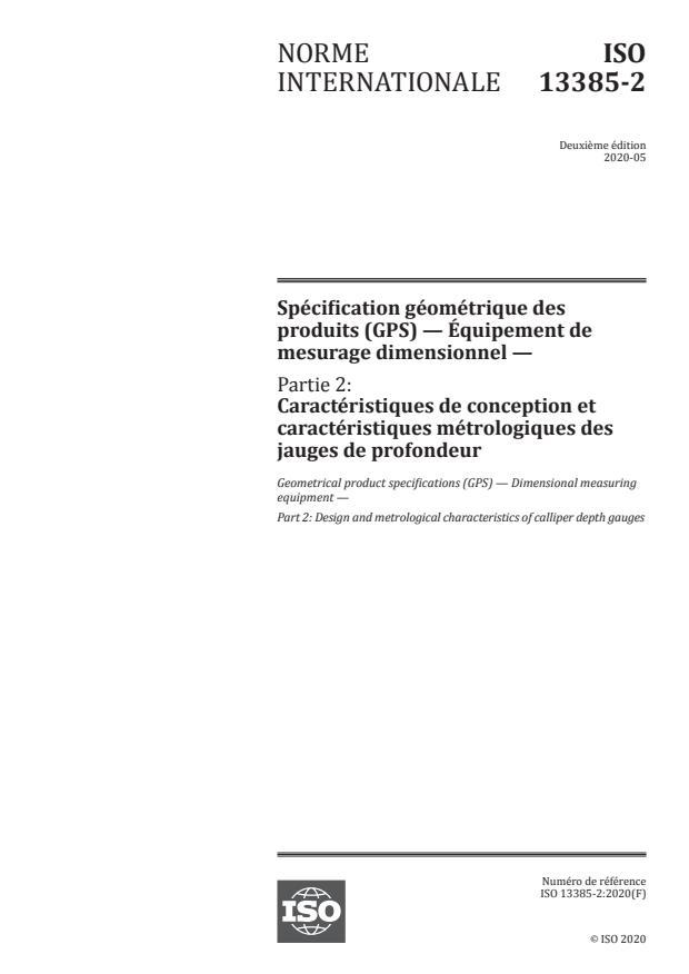 ISO 13385-2:2020 - Spécification géométrique des produits (GPS) -- Équipement de mesurage dimensionnel