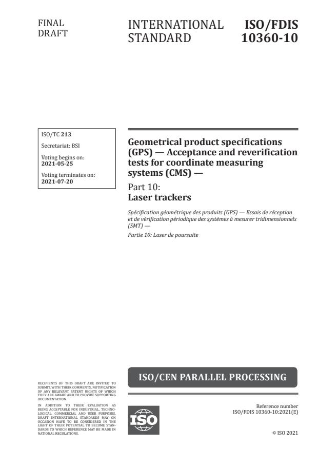 ISO/FDIS 10360-10:Version 22-maj-2021 - Geometrical product specifications (GPS) -- Acceptance and reverification tests for coordinate measuring systems (CMS)