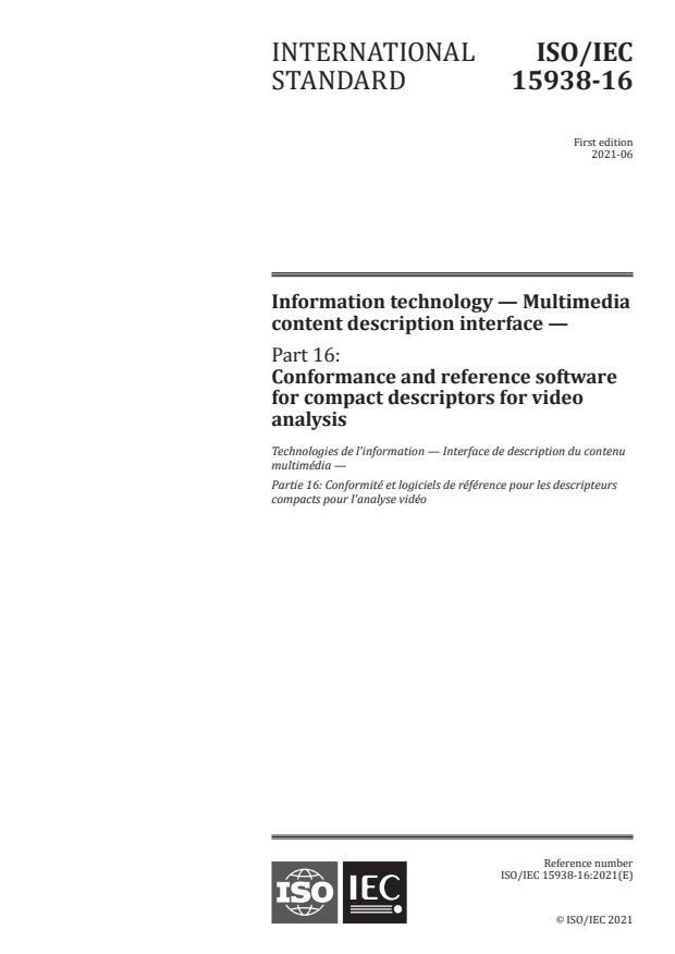 ISO/IEC 15938-16:2021 - Information technology -- Multimedia content description interface