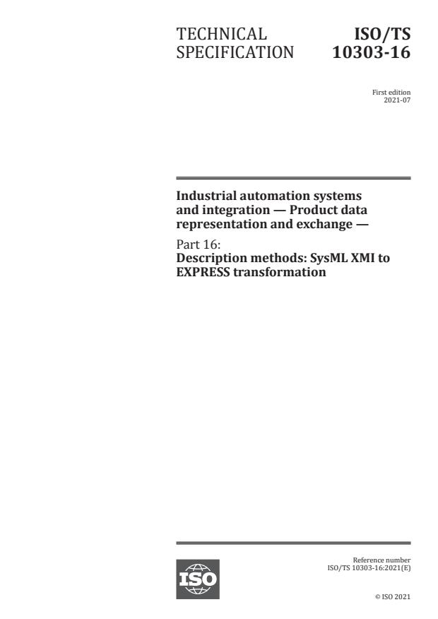 ISO/TS 10303-16:2021 - Industrial automation systems and integration -- Product data representation and exchange