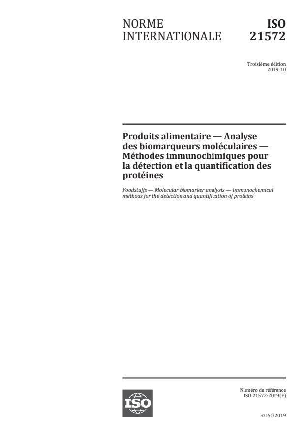 ISO 21572:2019 - Produits alimentaires— Analyse des biomarqueurs moléculaires -- Méthodes immunochimiques pour la détection et la quantification des protéines