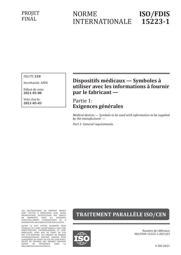 ISO/FDIS 15223-1:Version 27-mar-2021 - Dispositifs médicaux -- Symboles a utiliser avec les informations a fournir par le fabricant