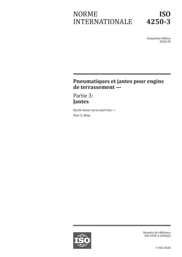 ISO 4250-3:2020 - Pneumatiques et jantes pour engins de terrassement