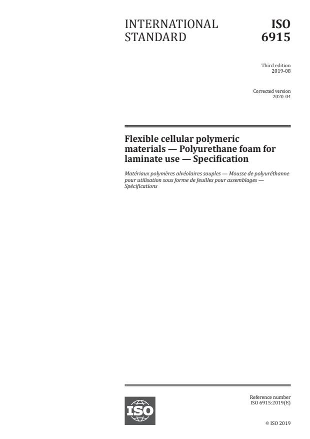 ISO 6915:2019 - Flexible cellular polymeric materials -- Polyurethane foam for laminate use -- Specification