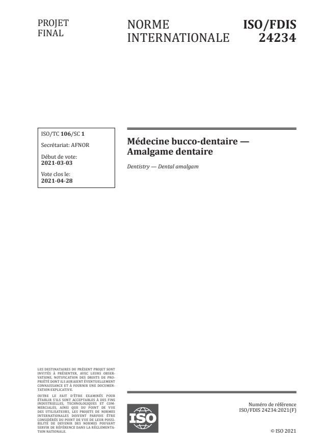 ISO/FDIS 24234:Version 18-apr-2021 - Médecine bucco-dentaire  -- Amalgame dentaire