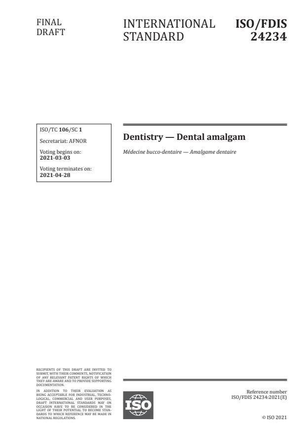 ISO/FDIS 24234:Version 06-mar-2021 - Dentistry -- Dental amalgam