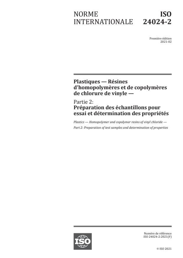 ISO 24024-2:2021 - Plastiques -- Résines d'homopolymères et de copolymères de chlorure de vinyle
