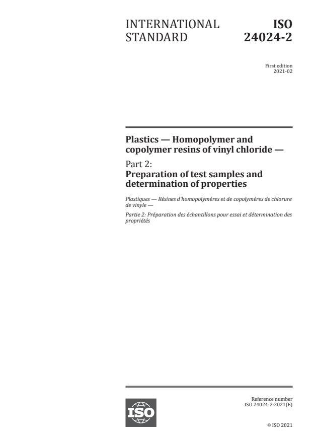 ISO 24024-2:2021 - Plastics -- Homopolymer and copolymer resins of vinyl chloride