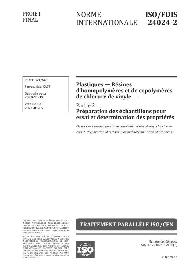 ISO/FDIS 24024-2:Version 02-jan-2021 - Plastiques -- Résines d'homopolymeres et de copolymeres de chlorure de vinyle