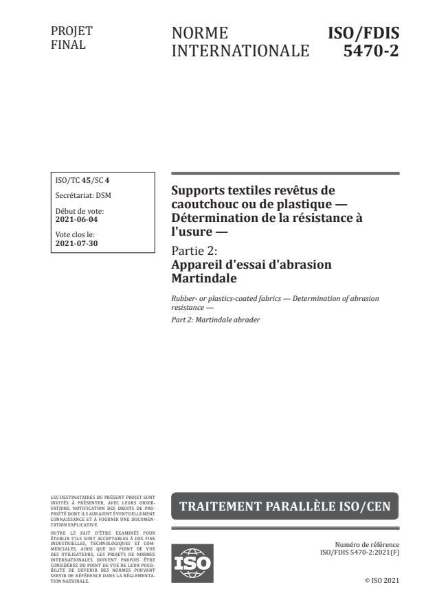 ISO/FDIS 5470-2:Version 10-jul-2021 - Supports textiles revetus de caoutchouc ou de plastique -- Détermination de la résistance a l'usure
