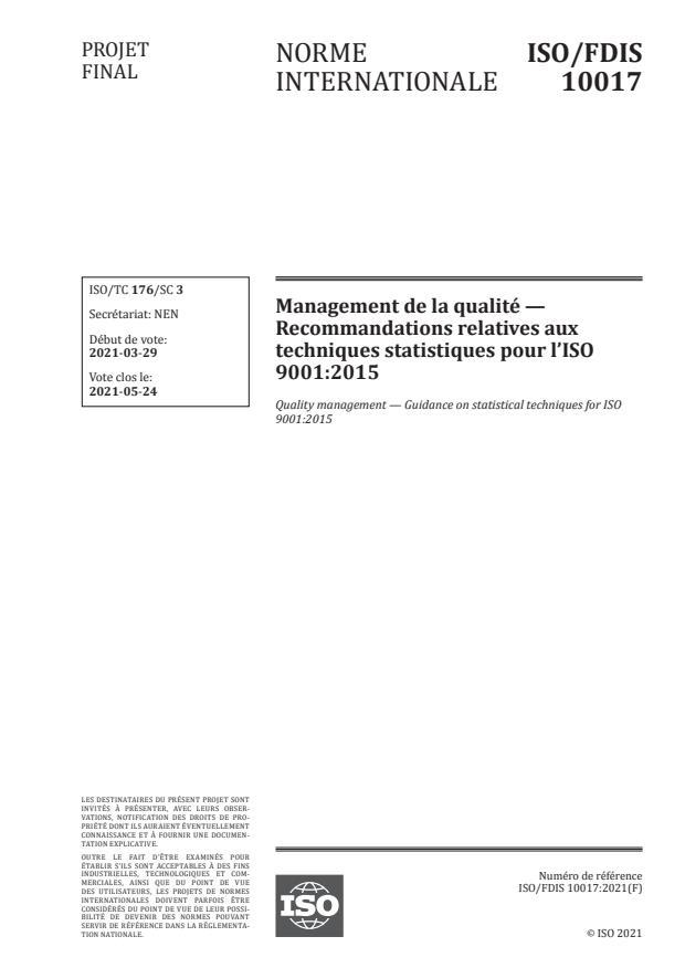 ISO/FDIS 10017:Version 08-maj-2021 - Management de la qualité -- Recommandations relatives aux techniques statistiques pour l'ISO 9001:2015