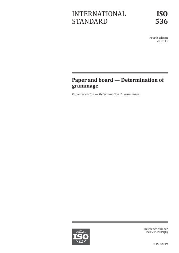 ISO 536:2019 - Paper and board -- Determination of grammage