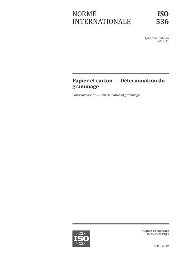ISO 536:2019 - Papier et carton -- Détermination du grammage