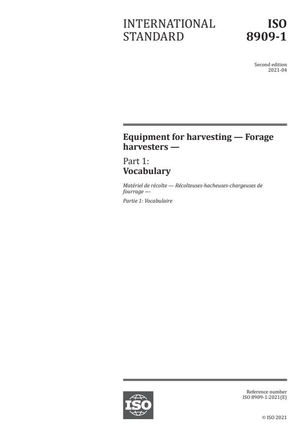 ISO 8909-1:2021 - Equipment for harvesting -- Forage harvesters