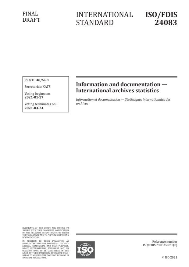ISO/FDIS 24083:Version 22-jan-2021 - Information and documentation -- International archives statistics