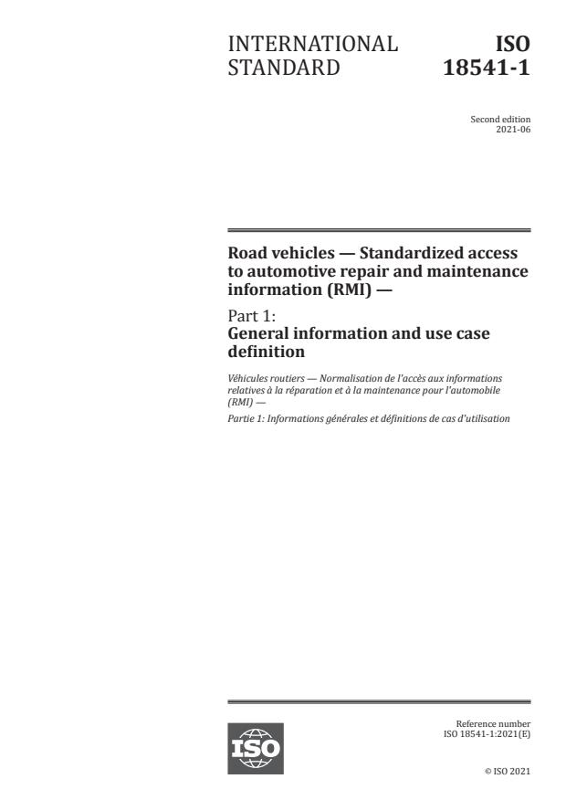 ISO 18541-1:2021 - Road vehicles -- Standardized access to automotive repair and maintenance information (RMI)
