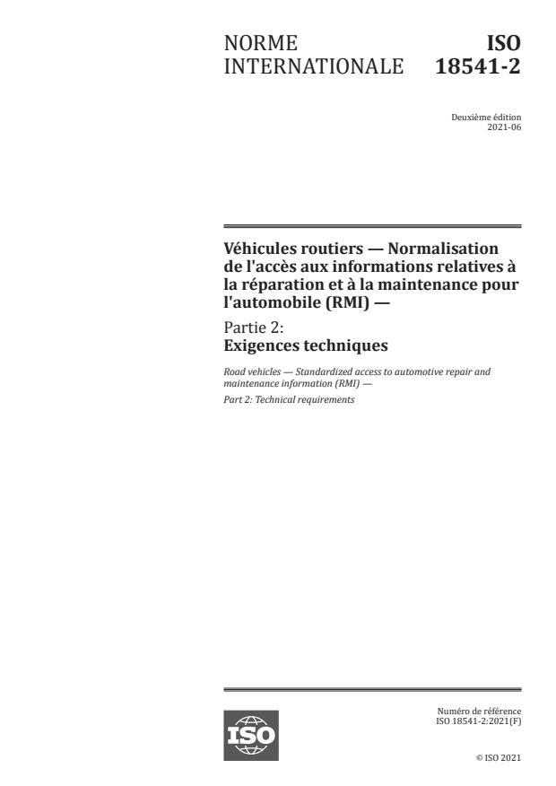 ISO 18541-2:2021 - Véhicules routiers -- Normalisation de l'accès aux informations relatives à la réparation et à la maintenance pour l'automobile (RMI)