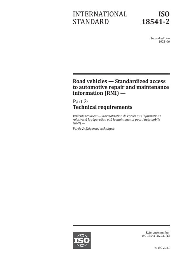 ISO 18541-2:2021 - Road vehicles -- Standardized access to automotive repair and maintenance information (RMI)