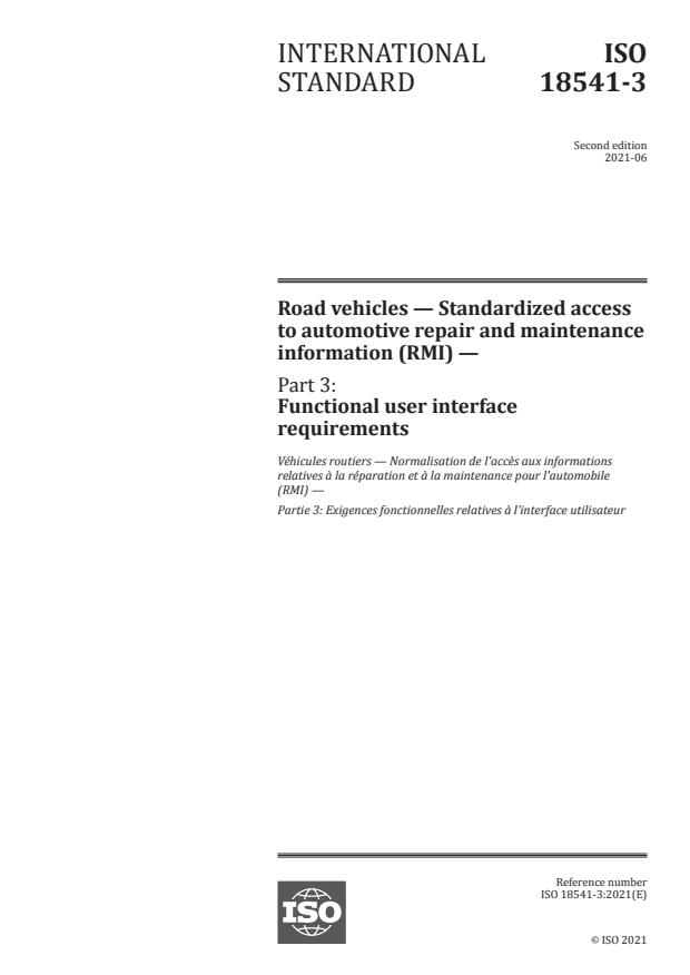ISO 18541-3:2021 - Road vehicles -- Standardized access to automotive repair and maintenance information (RMI)