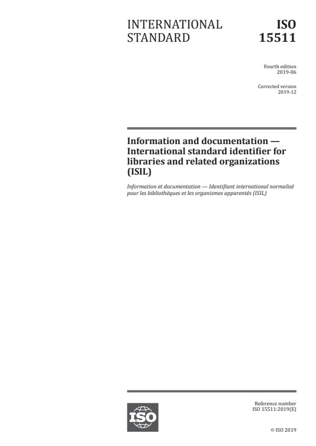 ISO 15511:2019 - Information and documentation -- International standard identifier for libraries and related organizations (ISIL)