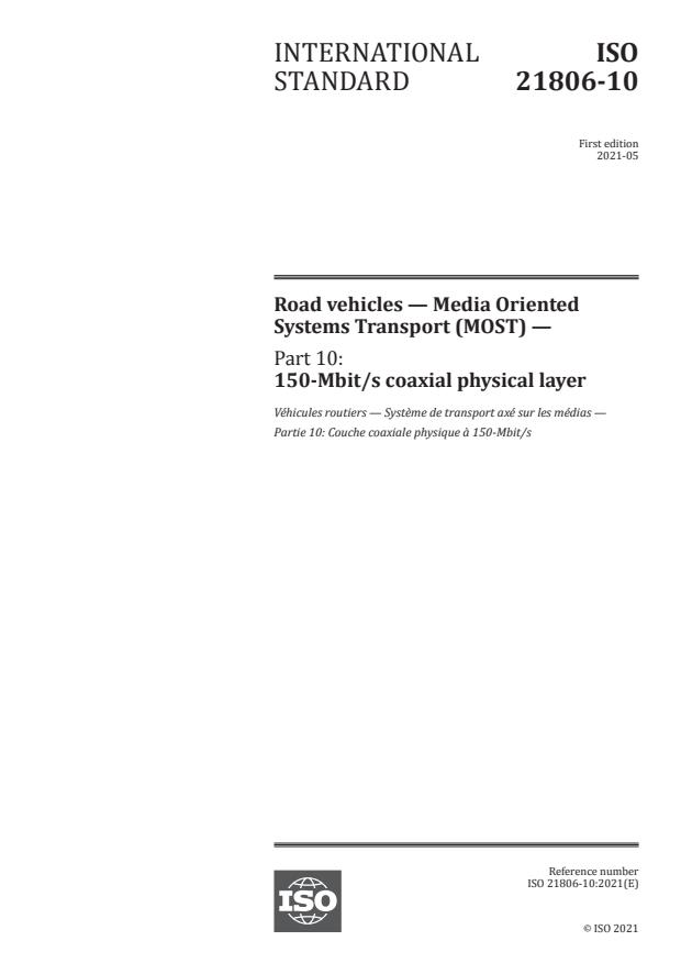 ISO 21806-10:2021 - Road vehicles -- Media Oriented Systems Transport (MOST)
