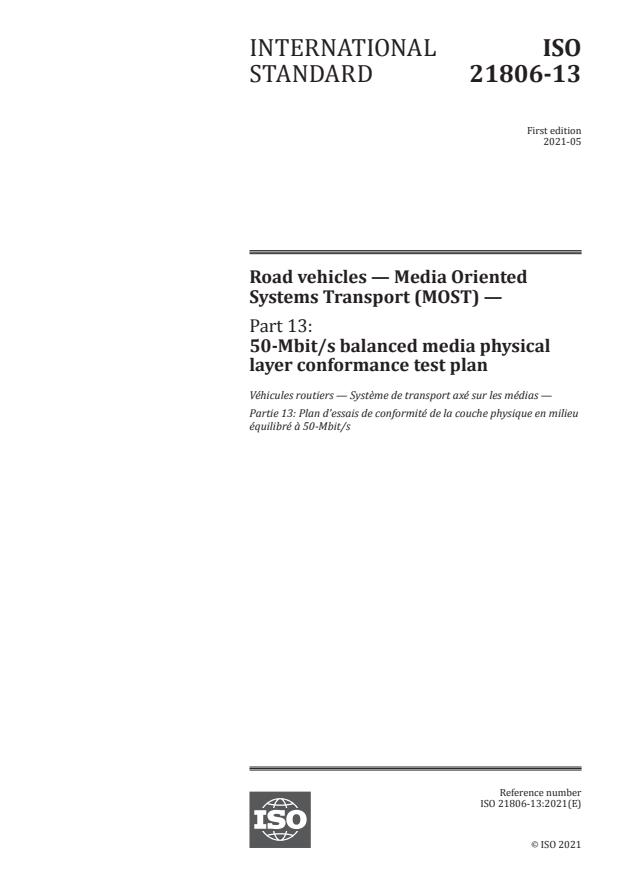 ISO 21806-13:2021 - Road vehicles -- Media Oriented Systems Transport (MOST)