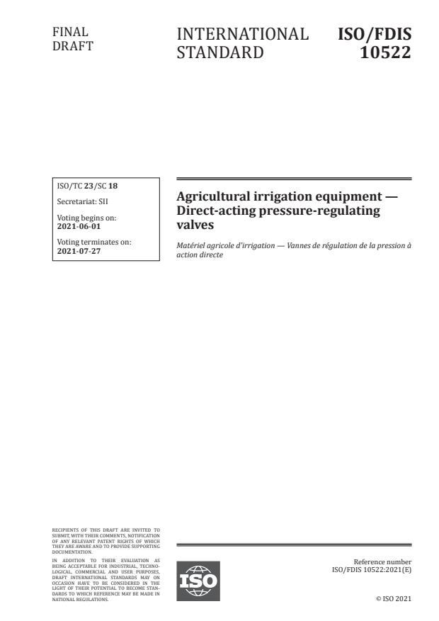 ISO/FDIS 10522:Version 29-maj-2021 - Agricultural irrigation equipment -- Direct-acting pressure-regulating valves